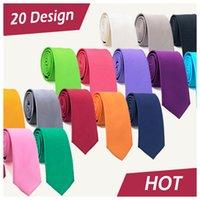 ingrosso legami intrecciati-20 Styles Solid Mens Skinny Ties Moda Plain Gravata Slim Ties Jacquard Woven Silk Ties per abiti da uomo mens
