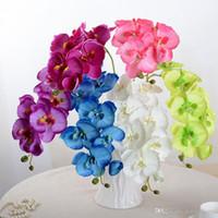 ingrosso farfalle artificiali bianche-Phalaenopsis falso di alta qualità con fiori di orchidea bianca di seta artificiale e fiori finti per la decorazione del festival di nozze