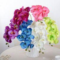 fleurs d'orchidées de soie blanche achat en gros de-Soie Artificielle Blanc Fleurs D'Orchidée Haute Qualité Papillon Papillon Phalaenopsis Faux Fleur pour Mariage Home Festival Décoration