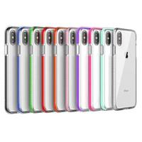 ingrosso doppia armatura-Cassa del telefono cellulare TPU bicolore trasparente Custodia morbida del telefono antiurto armatura ibrida a colori per iPhone Xs Max 8 Plus Samsung S10 Plus