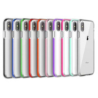 cajas del teléfono celular a prueba de golpes al por mayor-Estuche para teléfono celular TPU transparente bicolor Armadura híbrida de doble color Funda suave para iPhone Xs Max 8 Plus Samsung S10 Plus