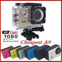 videocámaras precio al por mayor-Precio de fábrica Colorido A9 HD 1080P Cámaras de acción impermeables copia Buceo 30M 2