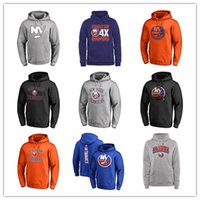 Wholesale man blue hoody resale online - New York Islanders John Tavares Black Gray Hockey Hoodies Men s Blue Jackets Sport outdoor long sleeve hoody free printed Logos