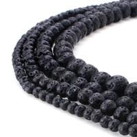 schwarze steinperlen rund großhandel-Naturstein schwarz Lava Perlen Runde Edelstein lose Perlen für DIY Armband Schmuck machen 1 Strang 15 Zoll 4 6 8 10 mm