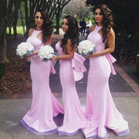 Wholesale red long bodycon prom dress resale online - Robe Demoiselle Pink Bridesmaid Dress Mermaid Bodycon Maid of Honor Wedding Guest Sexy Party Gown Custom Made Plus Size Bakless Prom Wear