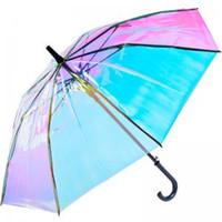 radios de colores al por mayor-Láser transparente paraguas sombrilla lluvia mango largo colorido degradado plástico PVC holográficas paraguas paraguas de viaje al aire libre 50 OOA6152