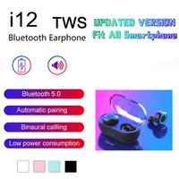 fone de ouvido para iphone rosa venda por atacado-Multi Cores I12 TWS 5.0 sem fio Bluetooth Rosa Controle Auscultadores E19 Fones Toque Headset Earbuds Branco Preto Vermelho Verde grátis DHL navio