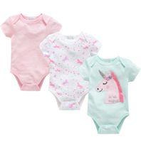 ingrosso giubbotti blu maglia-Pagliaccetto del bambino Unicorno Newborn Alpaca e Watermelon stampa Pagliaccetto in cotone manica corta Ragazze Tuta Tuta Outfit 3 Pz / set KKA6647
