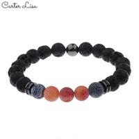 orangenstein armband großhandel-Carter Lisa Unisex Charm BlueOrange verwitterte Armbänder Lava Stones Perlen Stretch Yoga Armbänder Schmuck