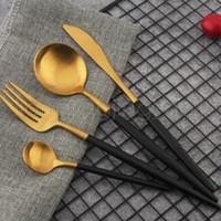 Wholesale metals sales online - 4 Set Colorful Dinnerware Set Hot Sale Stainless Steel Western Cutlery Set Kitchen Food Tableware Dinner Set WWA112