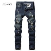 jeans escuro destruído venda por atacado-Novos Homens Escuro azul preto Buracos Do Vintage biker Jeans Streetwear Hip hop Rasgado Destruído Motocicleta Homens de alta elastic Denim calças
