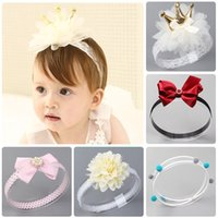 Wholesale gold baby lace hair resale online - Baby Imperial Crown Headbands Children Lace Bowknot Hair Band Girl Flower White Pearl Gold Stamping Wave Point Headwear