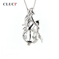 Wholesale fairy angel pendant resale online - CLUCI Sterling Silver Singing Mermaid Shaped Charms Pendant Women Fairy Tale Silver Pearl Cage Locket Jewelry
