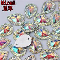 buraco de volta venda por atacado-13 * 18mm 100 pçs / lote AB Cristal Superior Taiwan Acrílico Plano de Volta Forma de Gota de Strass Acrílico Costurar Em 2 Hole beads ZZ36
