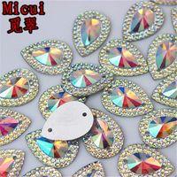 13*18mm 100pcs lot AB Crystal Superior Taiwan Acrylic Flat Back Drop Shape Acrylic Rhinestone Sew On 2 Hole beads ZZ36