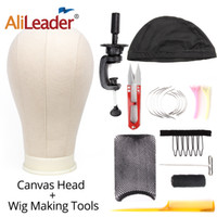 Wholesale scissors stand resale online - Alileader Set Wig Making Kit Tools Canvas Block Head with Stand Holder Wig Cap Comb Needle Tpins Thread Scissors For Wigs