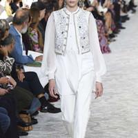 casaco de bordado de pista venda por atacado-Alta Qualidade Outono Runway Mulher Conjuntos Rivet Bordado Vest Lanterna Blusa Manga Patchwork Coats Falso 2 Peças Tops
