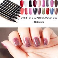 Wholesale manicure nail art pen resale online - New pc Gel Polish Pen Emerald Green Color Nail Art Semi Permanent Gel Varnish Primer for Nails Manicure Uv Lamp