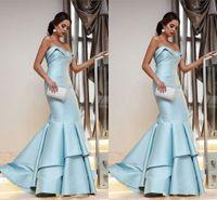 askısız denizkızı tarzı balo elbisesi toptan satış-2019 Açık Mavi Fırfır Gelinlik Modelleri Abiye giyim 2019 Mermaid Stil Straplez Aç Geri Balo Elbise Örgün Önlük Elbiseler Abiye Giymek
