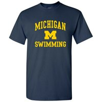 Wholesale arched top for sale - Group buy University Of Michigan Wolverines Arch Logo Swimming T Shirt Navy Summer O Neck Tops Tee Shirt