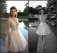 Wholesale knee length wedding dresses for sale - Group buy 2020 New Chic Pearls Berta Wedding Dresses A Line Pluning Neckline Lace Bridal Gown Appliqued Knee Length Short Wedding Dress
