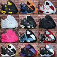 zapato niño rojo al por mayor-Zapatillas de baloncesto 2019 New Jumpman 4 para niños Zapatillas deportivas para niños Gimnasio Red Chicago Boy Girls 4s zapatillas deportivas de lujo 28-35 EUR