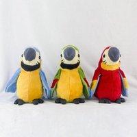peluş papağanlar toptan satış-Yeni Sınır ötesi yeni elektrikli peluş oyuncak papağan Elektrikli kayıt konuşan papağan Büküm Fan kanat oyuncak konuşurken öğrenmek