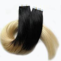 16 613 bandverlängerungen großhandel-100g Hauteinschlagband-Haarverlängerungen 40pcs / lot Band in den Haar-Erweiterungs-menschlichen realen Remy-Haar-Balayage Ombre-Farbe # 1B bis 613