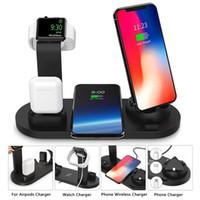 telefone base iphone venda por atacado-Telefone universal smart watch base carregador sem fio para airpods micor tipo usb-c cobrando proteção atual 3 em 1 carregador sem fio stand 075