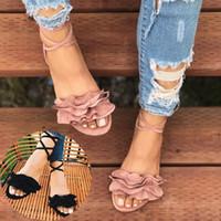 sohle pu sandale großhandel-Frühlings- und Sommermode große Blume Frauen Schuhe Kreuz Riemen flache Sohlen runde Zehe Fisch-Mund Sandalen US Größe 4-12
