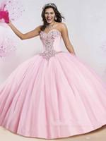 rosa ballkleid großhandel-Schatzausschnitt Glitter Ballkleid Quinceanera Dresse Strass Kristalle Mieder und schiere Bolero Perlen Tüll Rosa Quinceanera Kleider