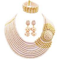 conjuntos de jóias de senhora africana venda por atacado-Muito Marfim Estilo Africano de Cristal Beads Partido Colar Conjuntos de Jóias para Senhoras 10C-DPH-12