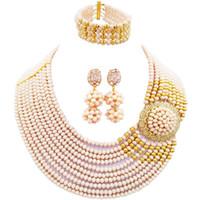 dama africana conjuntos de joyas al por mayor-Sistemas de la joyería del collar del partido de las gotas del cristal del estilo africano bonito de marfil para las señoras 10C-DPH-12
