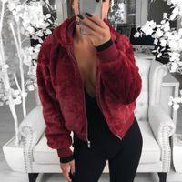 New Faux Fur Women Coat With Hood High Waist Fashion Slim Black Red Pink Faux Fur Jacket Fake Coats