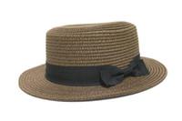 sombrero de paja para bebé niño al por mayor-Verano padre-niño sol sombrero mujer protector solar playa sol sombrero bebé niña niño protector solar viaje paja tapa