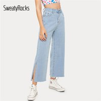 ingrosso bottoni per jeans blu-SweatyRocks Solid Split Jeans a gamba larga Donna Pantaloni larghi 2019 Bottone Fly Mid Waist Crop Pantaloni Donna Blue Jeans donna