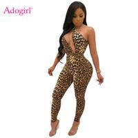 jumpsuit irregular venda por atacado-Estampa de leopardo Mulheres Sexy Jumpsuit Irregular Um Ombro Mangas Calças Skinny Romper High Stretchy Night Club Em Geral