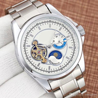 Wholesale top men s luxury watches resale online - All Dials Work Business Men S Watches Luxury Mechanical Automatic Moon Phase Flywheel Full Stainless Steel Band Top Brand Watch For Men