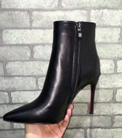 botas calientes sexy para mujeres al por mayor-NUEVO CALIENTE De lujo, de cuero rojo y negro con púas, dedos en punta, botines de mujer Diseñador de moda Sexy Ladies Red Bottom Tacones altos Zapatos Bombas
