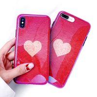 ingrosso caso di glitter blu-3D Bling Glitter Blue Ray Custodia in silicone per Iphone X Xs 8 7 6 6s Plus Custodie per cellulari Kawaii Luxury Heart Design 8plus Cover 10pcs / lot