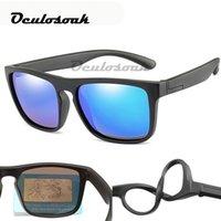kinder quadratische brille großhandel-Kinder platz polarisierte sonnenbrille kinder silikon safe tr90 sonnenbrille mädchen jungen uv400 beschichtung spiegel gafas de sol
