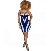 robe à imprimé sac achat en gros de-Nouveau Mode Sexy Imprimer Rayé Sac Hanche Robe Spaghetti Strap Club Badycon Robe Designer Vêtements Pour Femmes