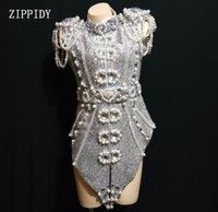 kulüp partisi dansı toptan satış-2019 Yeni Tasarım Sparkly Gümüş Gri İnciler Kristaller Kıyafet Dans Giyim Parti Kostüm Sahne Kulübü Şarkıcı Dans elbise giymek