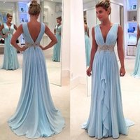Wholesale maternity evening dresses ivory for sale - Group buy Light Sky Blue Chiffon A Line Evening Dresses Long Deep V Neck Beaded And Appliques Sash Prom Dresses With Pleats BA7653