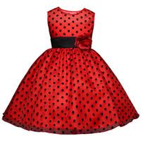 kızlar için beyaz dans elbiseleri toptan satış-2019 Prenses Yaz Çiçek Kız Elbise Klasik Beyaz Siyah Polka Dots Çocuk Dans Elbiseler Kızlar Için vestido infantil 4-10Y