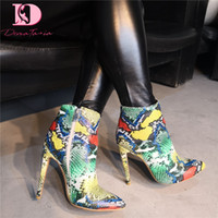 Wholesale colorful sexy heels resale online - DoraTasia Brand Design Big Size Colorful Snake Print Women Shoes Sexy Pointed Toe High Heels Party Shoes Women Ankle Boots