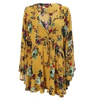 8153332c1ba Wholesale poncho blouse top online - Trendy V Neck Long Shirt Batwing  Sleeve Floral Print Poncho