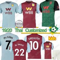 nueva jersey de futbol al por mayor-Tailandia 19 20 Nuevo Aston Villa camiseta de fútbol Villa camiseta de fútbol CHESTER WESLEY Grealish HOGAN Kodja hombres camisetas uniformes maillots de equipos