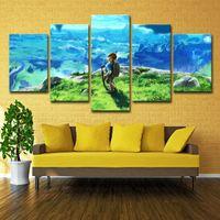hd bilderrahmen großhandel-(Nur Leinwand Kein Rahmen) 5 Stücke Legend of Zelda Wandkunst HD Druck Leinwand Malerei Mode Hängen Bilder