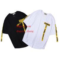 kadın yarı gömlekler toptan satış-Gelgit marka baskı desen T Shirt Kanye West nakış pamuk kapalı gevşek kısa kollu beyaz erkekler womens aynı paragraf yarım kollu O-FF11